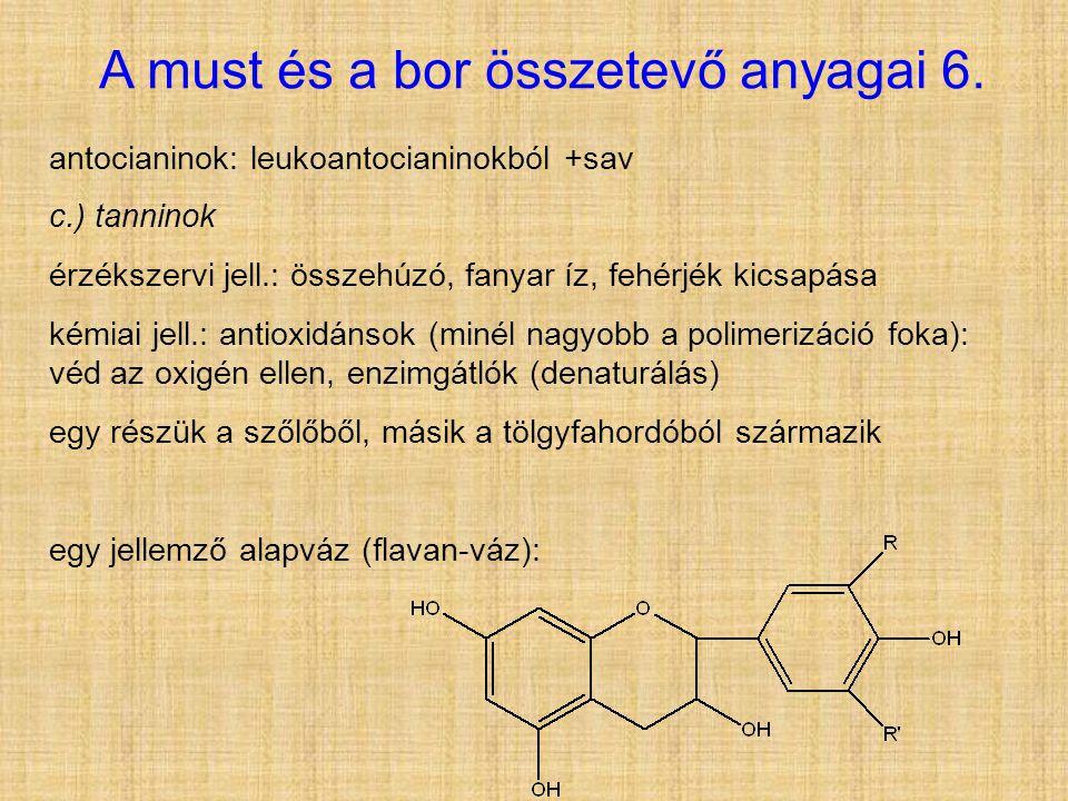 A must és a bor összetevő anyagai 6. antocianinok: leukoantocianinokból +sav c.) tanninok érzékszervi jell.: összehúzó, fanyar íz, fehérjék kicsapása