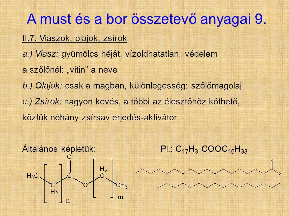 A must és a bor összetevő anyagai 9.II.7.