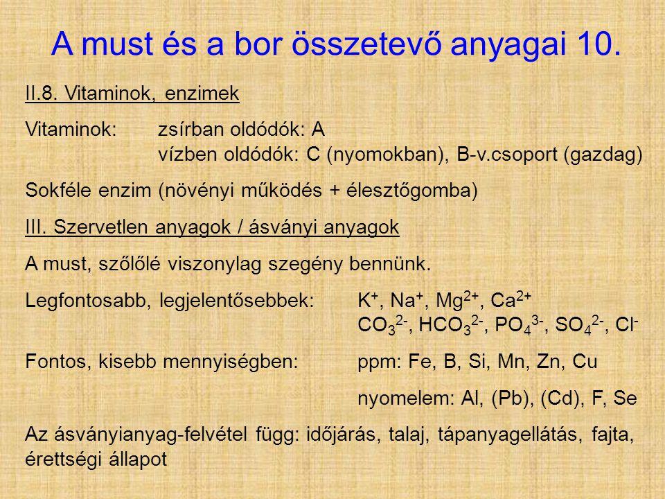 A must és a bor összetevő anyagai 10. II.8. Vitaminok, enzimek Vitaminok:zsírban oldódók: A vízben oldódók: C (nyomokban), B-v.csoport (gazdag) Sokfél
