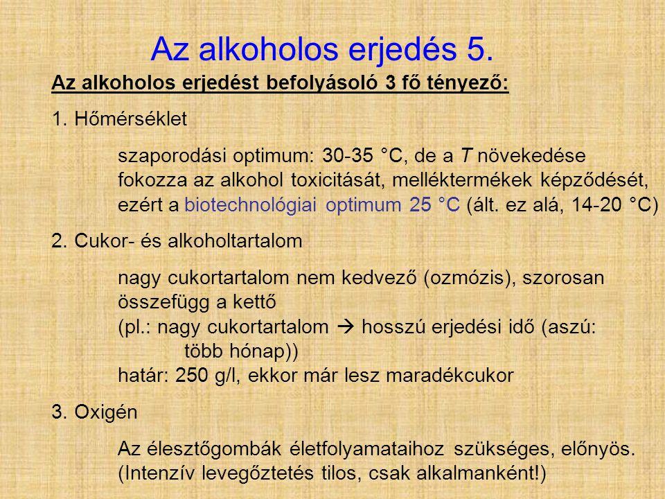 Az alkoholos erjedés 5. Az alkoholos erjedést befolyásoló 3 fő tényező: 1. Hőmérséklet szaporodási optimum: 30-35 °C, de a T növekedése fokozza az alk