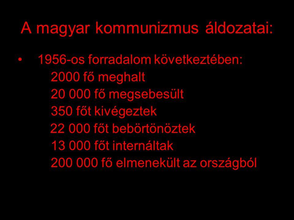 """A magyar kommunizmus áldozatai : •1945: szovjet fogságba került 189 608 fő •1946: szovjet munkaszolgálat, """"málenkij robot 600 000-650 000 fő, ebből meghalt 250 000-350 000 fő •1951: Budapestről kitelepítés 12 704 fő •1950-1953: Recskre internálás 1300 fő"""