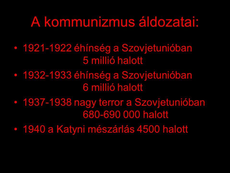 A kommunizmus eredménye: •elmaradottság •gazdasági válság •ideológiai erőszak •értelmiség, szabad sajtó elnyomása •szellemi hanyatlás •egész civilizác