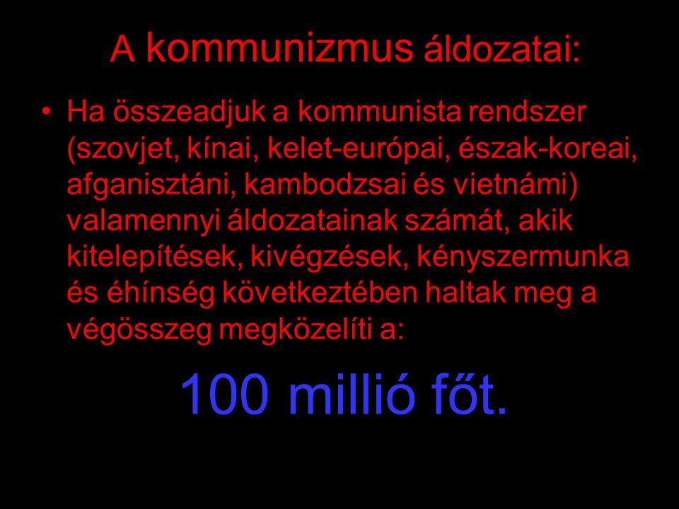 """A kommunizmus áldozatai: •1946-1947 éhínség a Szovjetunióban 500 000 halott •1958-1962 a """"nagy ugrás"""" évei Kínában 30-50 millió halott •1966-1971 kult"""