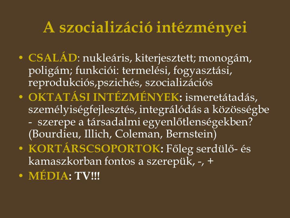 A szocializáció intézményei • CSALÁD : nukleáris, kiterjesztett; monogám, poligám; funkciói: termelési, fogyasztási, reprodukciós,pszichés, szocializációs • OKTATÁSI INTÉZMÉNYEK: ismeretátadás, személyiségfejlesztés, integrálódás a közösségbe - szerepe a társadalmi egyenlőtlenségekben.