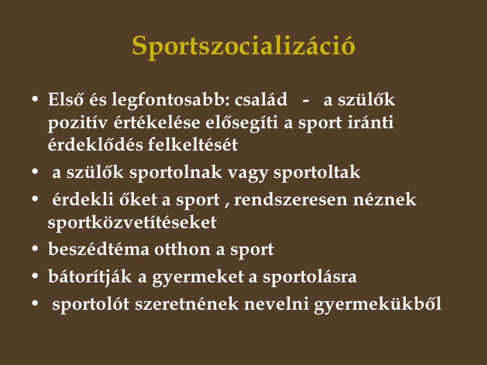 Sportszocializáció • Első és legfontosabb: család - a szülők pozitív értékelése elősegíti a sport iránti érdeklődés felkeltését • a szülők sportolnak vagy sportoltak • érdekli őket a sport, rendszeresen néznek sportközvetítéseket • beszédtéma otthon a sport • bátorítják a gyermeket a sportolásra • sportolót szeretnének nevelni gyermekükből