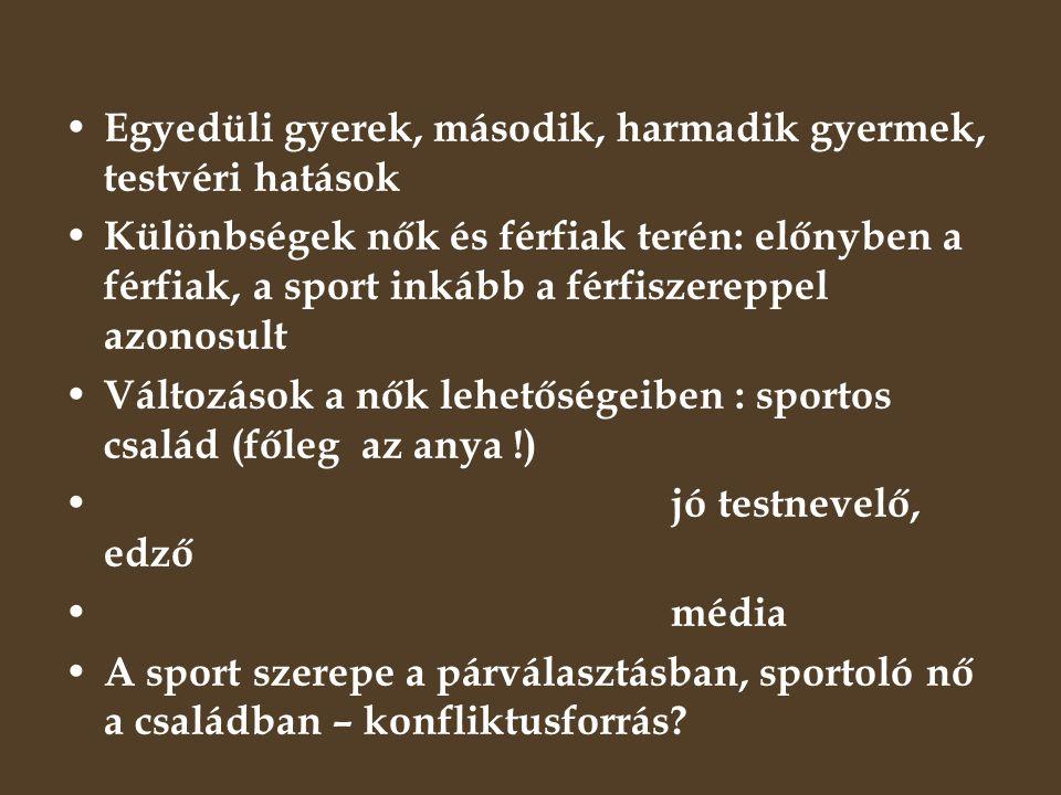 A sportszocializáció aspektusai 1.Szocializáció a sportra 2.Szocializáció a sport útján – a sport, mint nevelési eszköz – pozitív emberi tulajdonságok kialakulása a gyermekben DE: Csak pozitív.