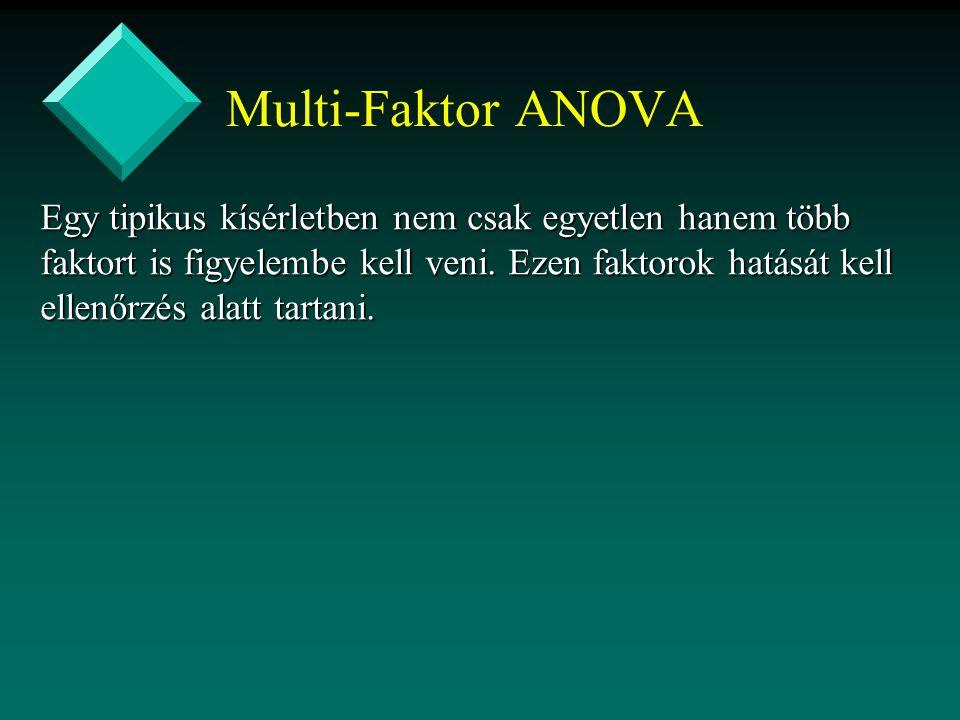 Multi-Faktor ANOVA Egy tipikus kísérletben nem csak egyetlen hanem több faktort is figyelembe kell veni. Ezen faktorok hatását kell ellenőrzés alatt t