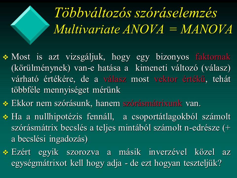 Többváltozós szóráselemzés Multivariate ANOVA = MANOVA v Most is azt vizsgáljuk, hogy egy bizonyos faktornak (körülménynek) van-e hatása a kimeneti vá