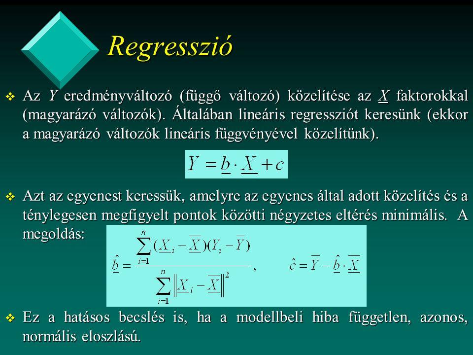 Regresszió v Az Y eredményváltozó (függő változó) közelítése az X faktorokkal (magyarázó változók). Általában lineáris regressziót keresünk (ekkor a m