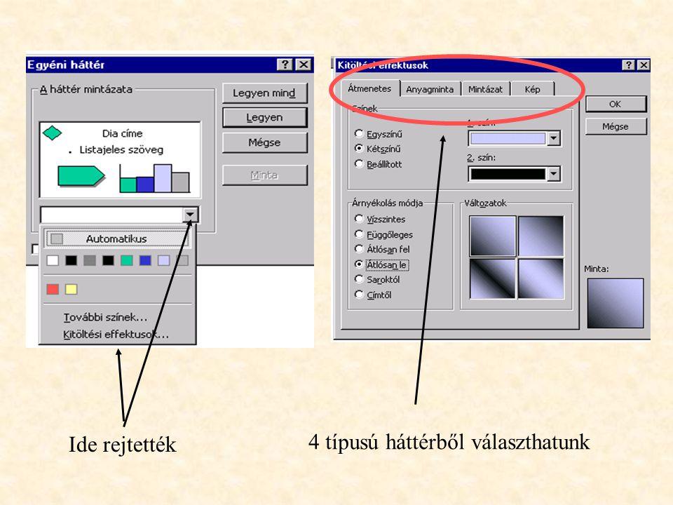 Néhány tipp a háttér szépítéséhez 2. 2. Formátum - Egyéni háttér menüpont - itt alkalmunk nyílik arra, hogy létrehozzuk a legváltozatosabb (pl. Anyagm