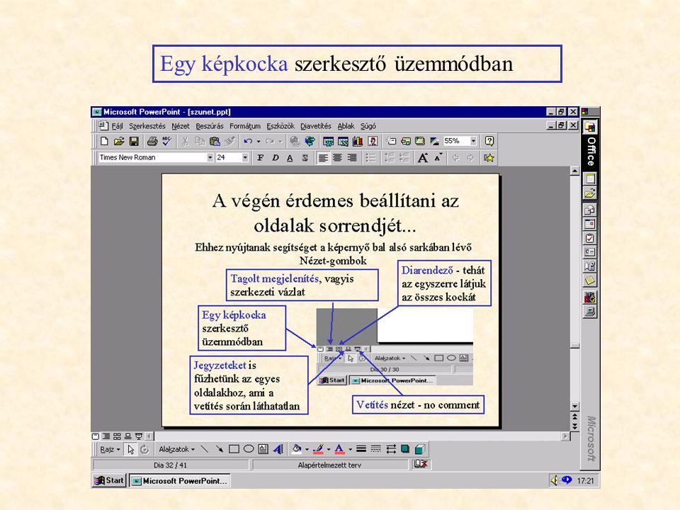 A végén érdemes beállítani az oldalak sorrendjét Ehhez nyújtanak segítséget a képernyő bal alsó sarkában lévő Nézet-gombok Egy képkocka szerkesztő üze