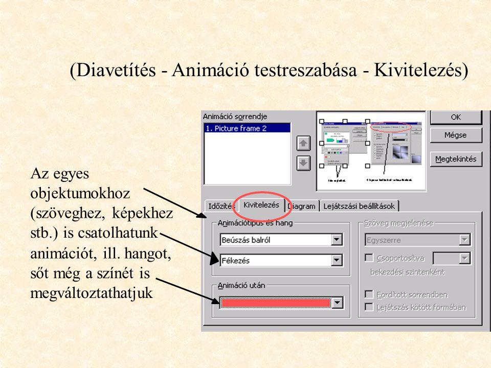 Animáció (Diavetítés - Animáció testreszabása - Időzítés) Be lehet állítani az egyes objektumok megjelenési sorrendjét, valamint azt, hogy animációval