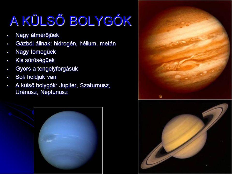 A KÜLSŐ BOLYGÓK • Nagy átmérőjűek • Gázból állnak: hidrogén, hélium, metán • Nagy tömegűek • Kis sűrűségűek • Gyors a tengelyforgásuk • Sok holdjuk va