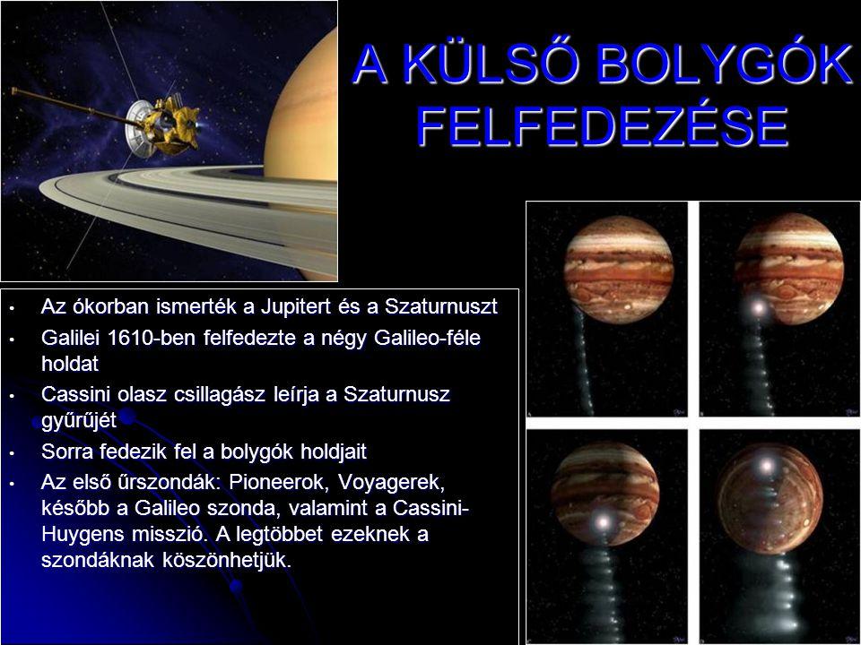 A KÜLSŐ BOLYGÓK FELFEDEZÉSE • Az ókorban ismerték a Jupitert és a Szaturnuszt • Galilei 1610-ben felfedezte a négy Galileo-féle holdat • Cassini olasz