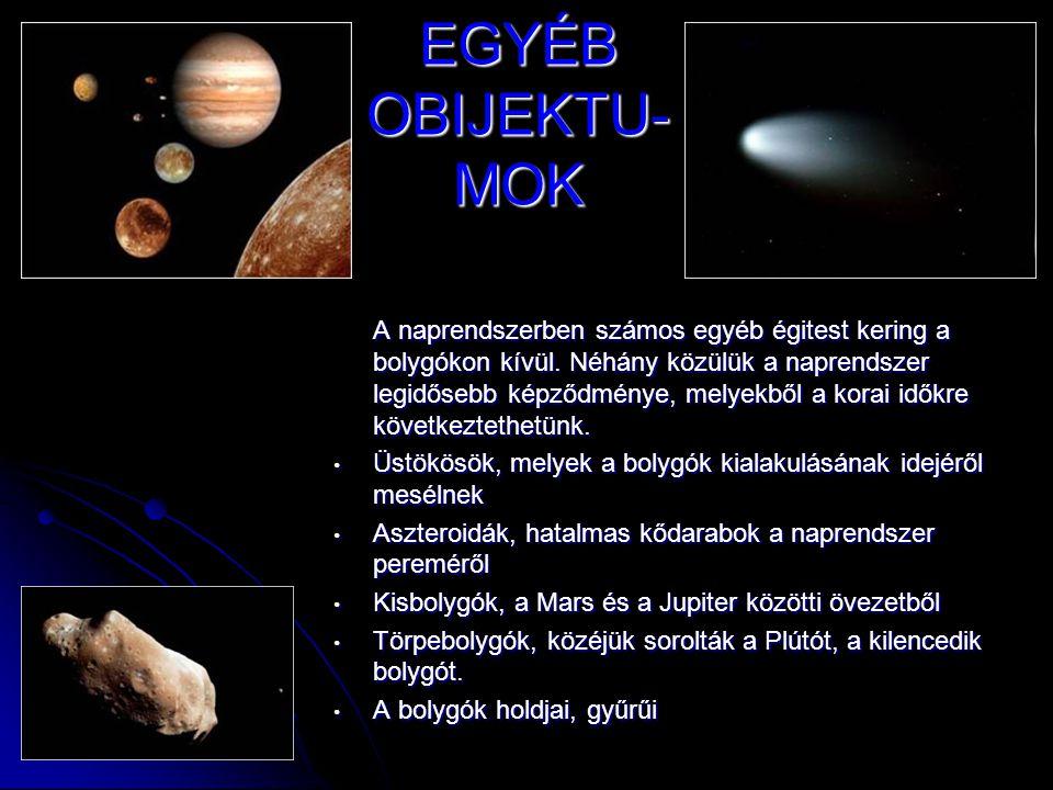 EGYÉB OBIJEKTU- MOK A naprendszerben számos egyéb égitest kering a bolygókon kívül. Néhány közülük a naprendszer legidősebb képződménye, melyekből a k