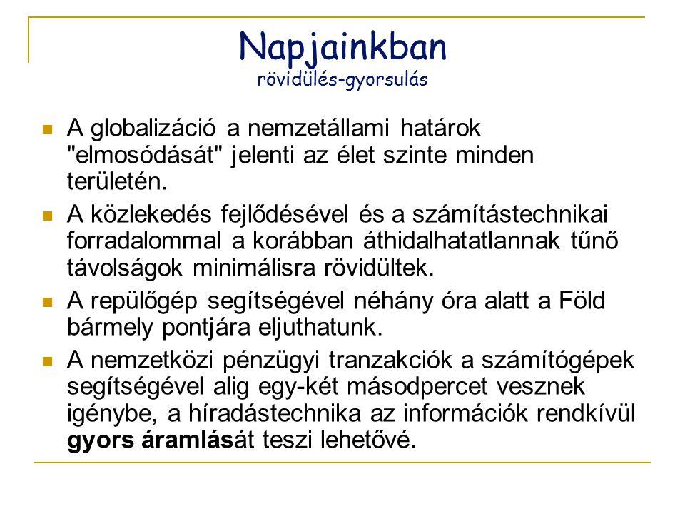 Napjainkban rövidülés-gyorsulás  A globalizáció a nemzetállami határok