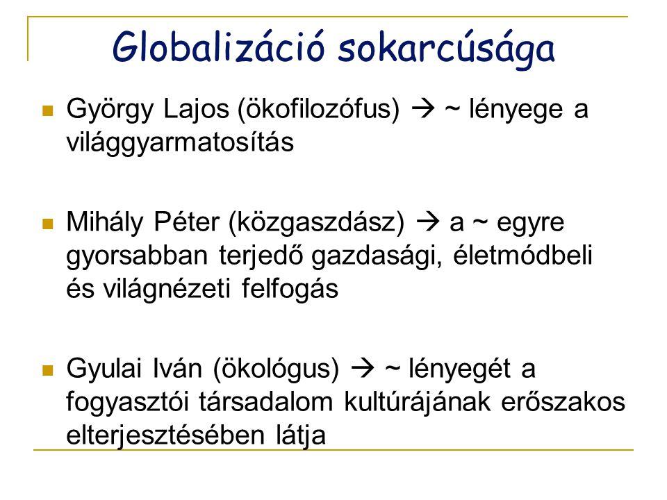 Globalizáció sokarcúsága  György Lajos (ökofilozófus)  ~ lényege a világgyarmatosítás  Mihály Péter (közgaszdász)  a ~ egyre gyorsabban terjedő ga