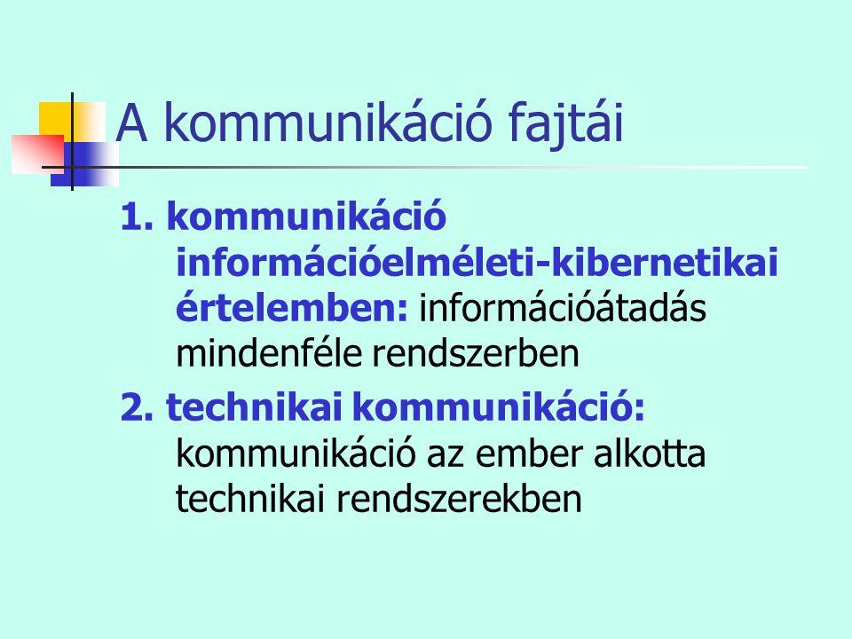 A kommunikáció fajtái 1. kommunikáció információelméleti-kibernetikai értelemben: információátadás mindenféle rendszerben 2. technikai kommunikáció: k