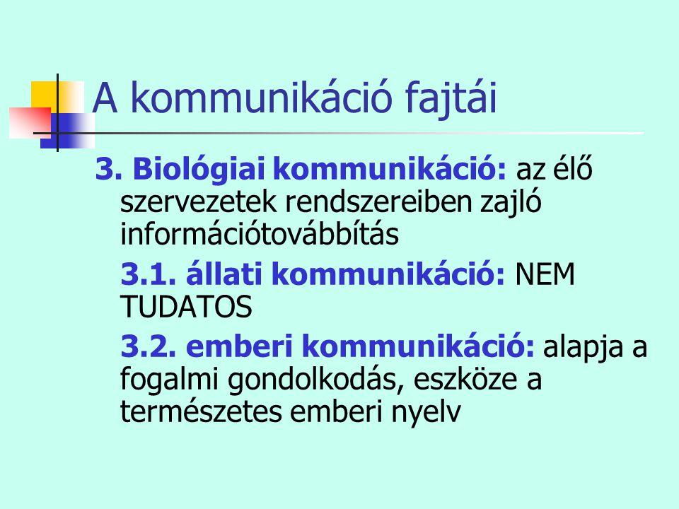 A kommunikáció fajtái 3. Biológiai kommunikáció: az élő szervezetek rendszereiben zajló információtovábbítás 3.1. állati kommunikáció: NEM TUDATOS 3.2