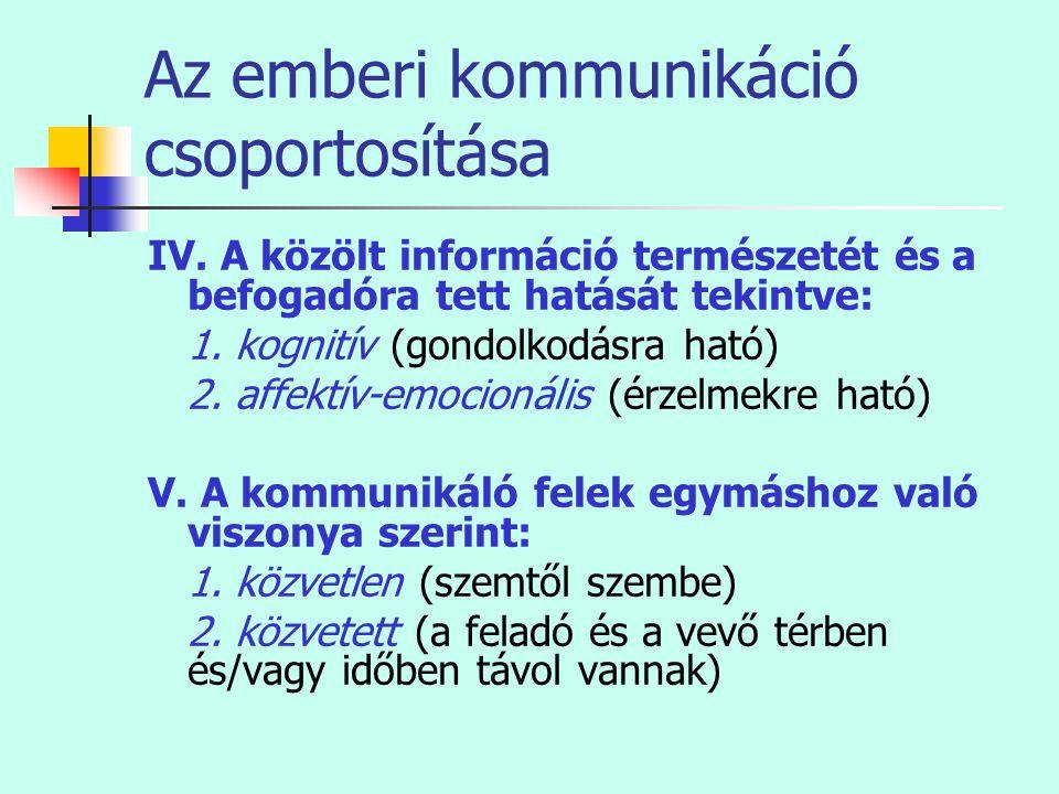 Az emberi kommunikáció csoportosítása IV. A közölt információ természetét és a befogadóra tett hatását tekintve: 1. kognitív (gondolkodásra ható) 2. a
