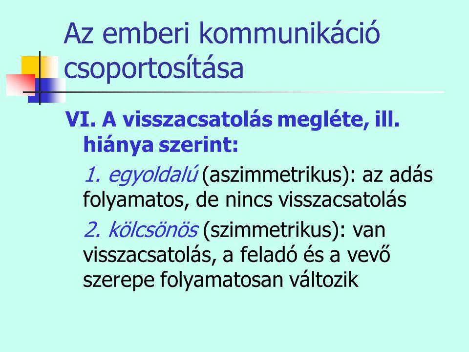 Az emberi kommunikáció csoportosítása VI. A visszacsatolás megléte, ill. hiánya szerint: 1. egyoldalú (aszimmetrikus): az adás folyamatos, de nincs vi