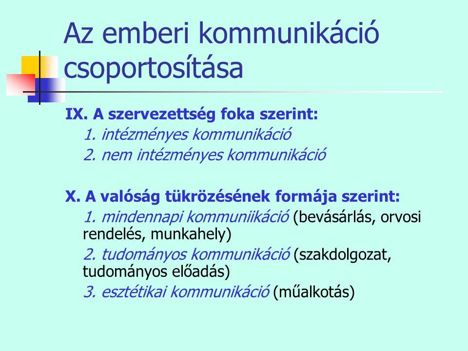 Az emberi kommunikáció csoportosítása IX. A szervezettség foka szerint: 1. intézményes kommunikáció 2. nem intézményes kommunikáció X. A valóság tükrö