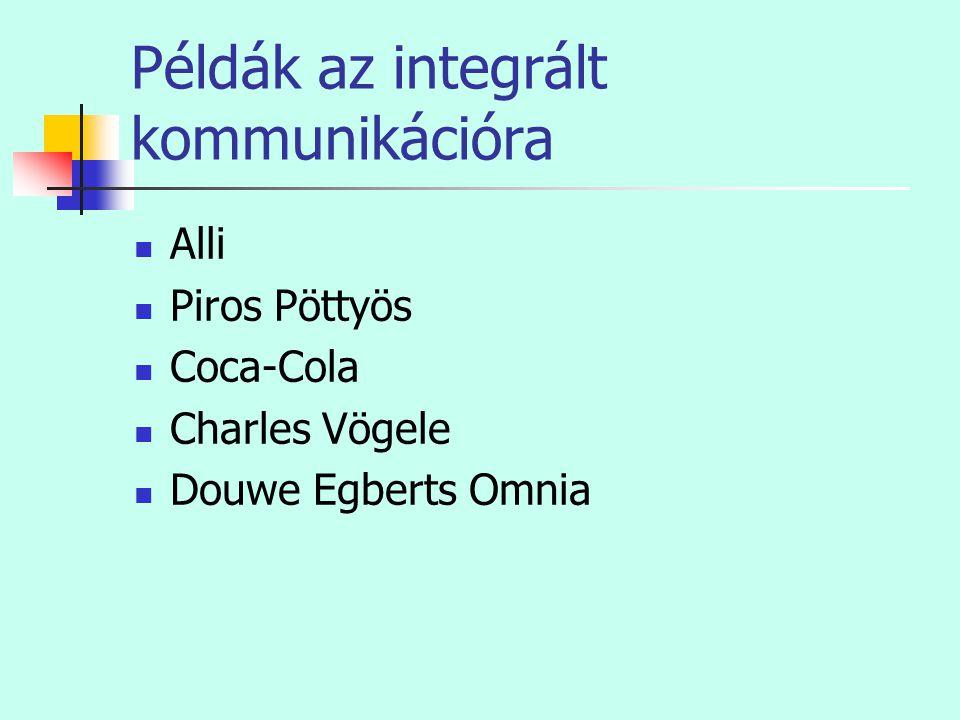 Példák az integrált kommunikációra  Alli  Piros Pöttyös  Coca-Cola  Charles Vögele  Douwe Egberts Omnia