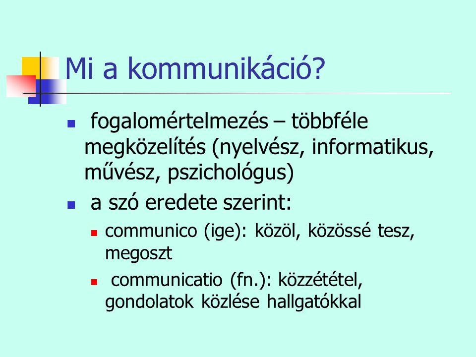 Mi a kommunikáció?  fogalomértelmezés – többféle megközelítés (nyelvész, informatikus, művész, pszichológus)  a szó eredete szerint:  communico (ig