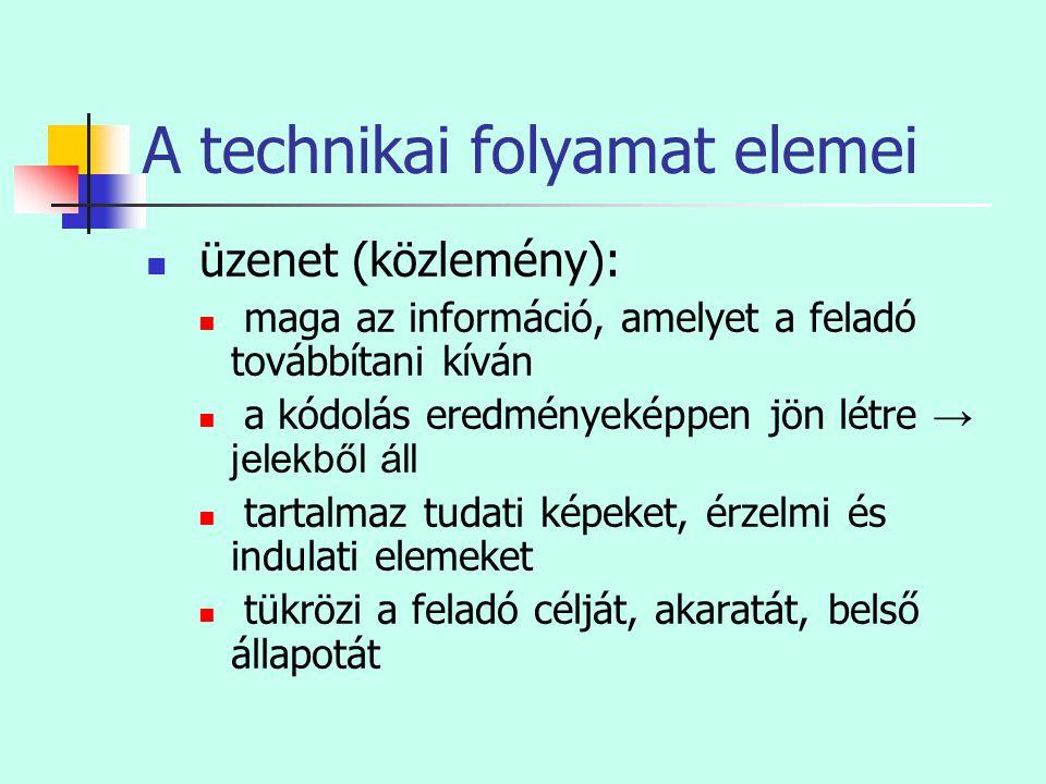 A technikai folyamat elemei  üzenet (közlemény):  maga az információ, amelyet a feladó továbbítani kíván  a kódolás eredményeképpen jön létre → jel