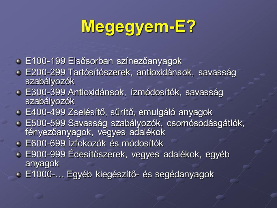 Megegyem-E? E100-199 Elsősorban színezőanyagok E200-299 Tartósítószerek, antioxidánsok, savasság szabályozók E300-399 Antioxidánsok, ízmódosítók, sava