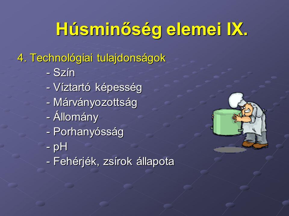 4. Technológiai tulajdonságok - Szín - Víztartó képesség - Márványozottság - Állomány - Porhanyósság - pH - Fehérjék, zsírok állapota Húsminőség eleme