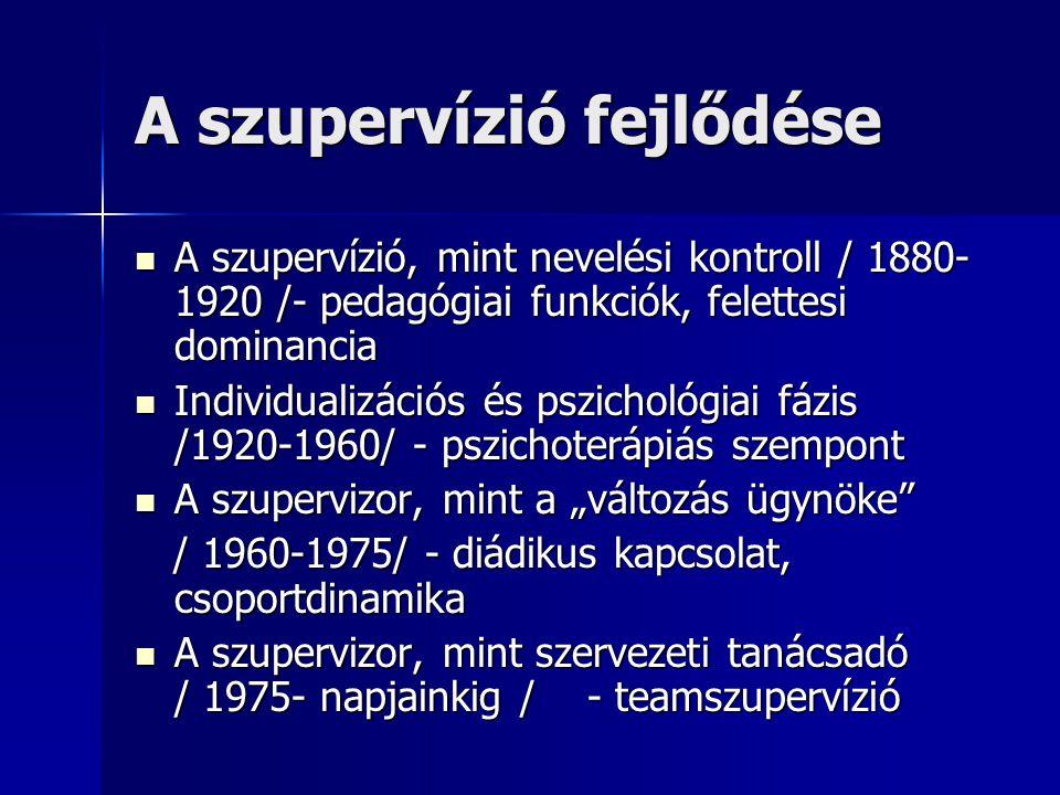 A szupervízió fejlődése  A szupervízió, mint nevelési kontroll / 1880- 1920 /- pedagógiai funkciók, felettesi dominancia  Individualizációs és pszic