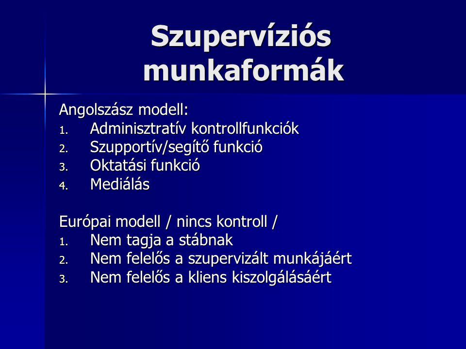 Szupervíziós munkaformák Szupervíziós munkaformák Angolszász modell: 1. Adminisztratív kontrollfunkciók 2. Szupportív/segítő funkció 3. Oktatási funkc