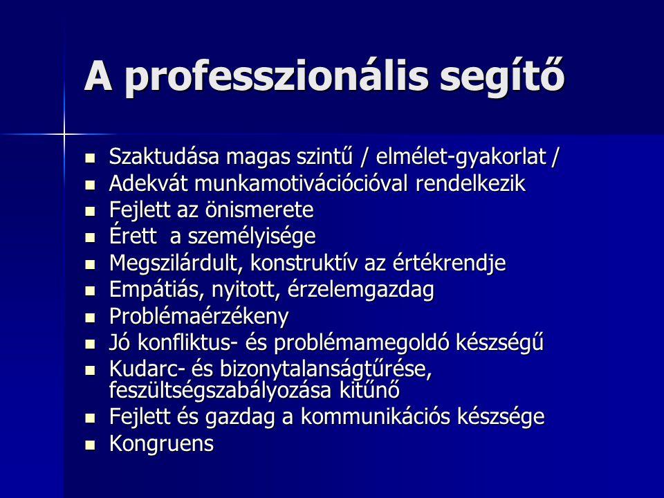 A professzionális segítő  Szaktudása magas szintű / elmélet-gyakorlat /  Adekvát munkamotivációcióval rendelkezik  Fejlett az önismerete  Érett a
