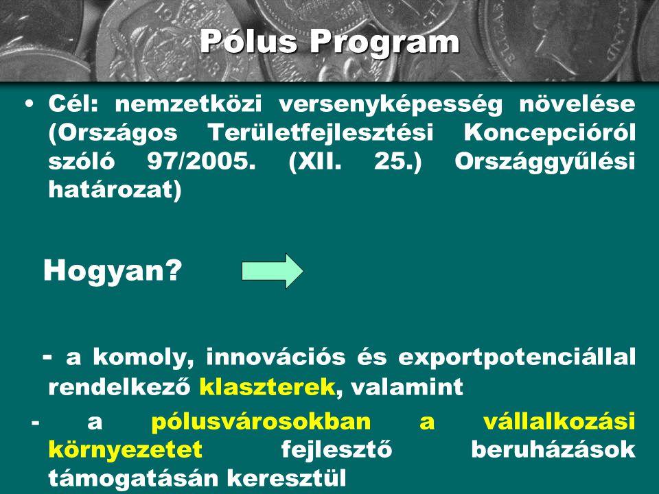 Pólus Program •Cél: nemzetközi versenyképesség növelése (Országos Területfejlesztési Koncepcióról szóló 97/2005. (XII. 25.) Országgyűlési határozat) H