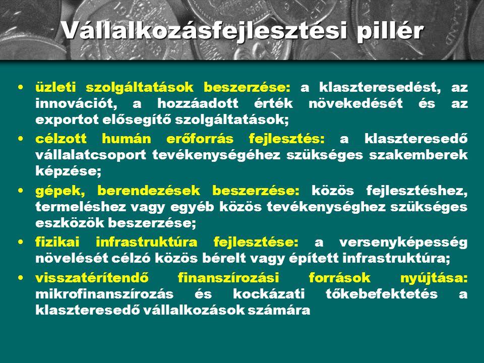 Vállalkozásfejlesztési pillér •üzleti szolgáltatások beszerzése: a klaszteresedést, az innovációt, a hozzáadott érték növekedését és az exportot előse