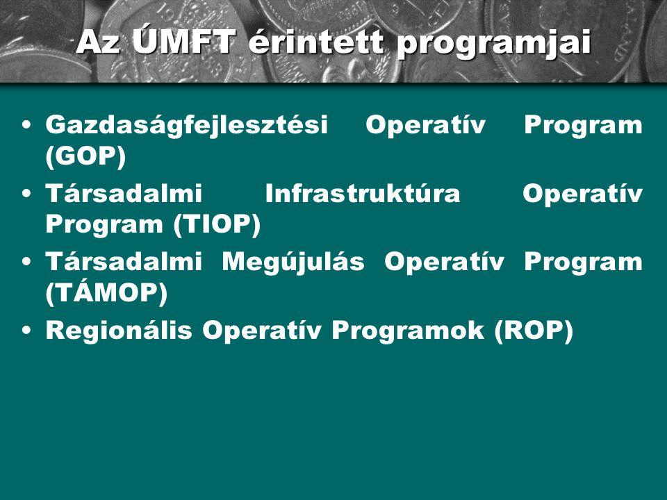 Az ÚMFT érintett programjai •Gazdaságfejlesztési Operatív Program (GOP) •Társadalmi Infrastruktúra Operatív Program (TIOP) •Társadalmi Megújulás Opera