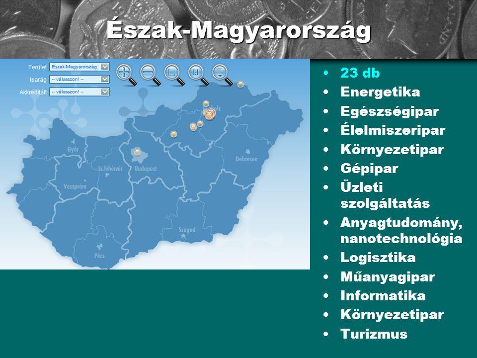 Észak-Magyarország •23 db •Energetika •Egészségipar •Élelmiszeripar •Környezetipar •Gépipar •Üzleti szolgáltatás •Anyagtudomány, nanotechnológia •Logi