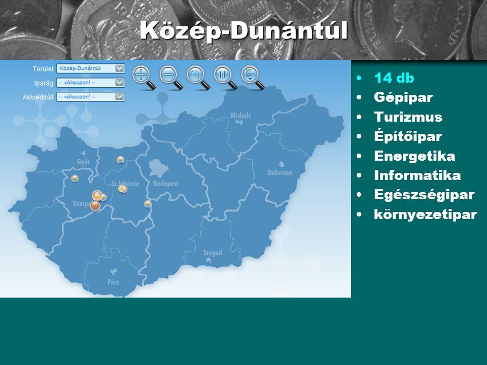 Közép-Dunántúl •14 db •Gépipar •Turizmus •Építőipar •Energetika •Informatika •Egészségipar •környezetipar