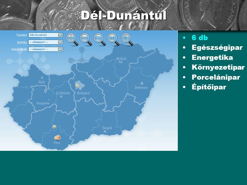 Dél-Dunántúl •6 db •Egészségipar •Energetika •Környezetipar •Porcelánipar •Építőipar