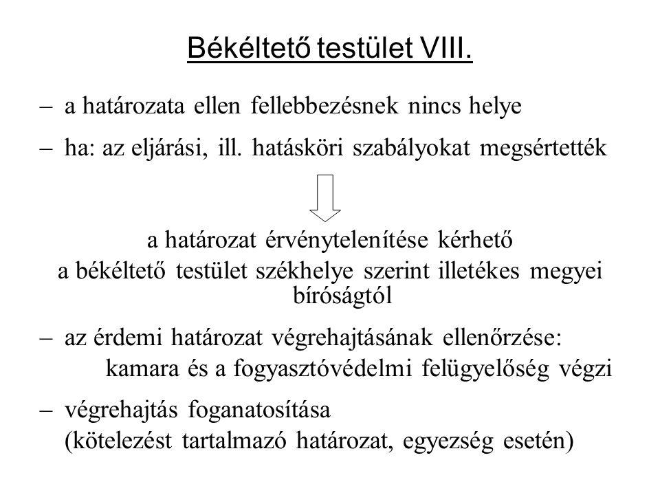Békéltető testület VIII. –a határozata ellen fellebbezésnek nincs helye –ha: az eljárási, ill. hatásköri szabályokat megsértették a határozat érvényte