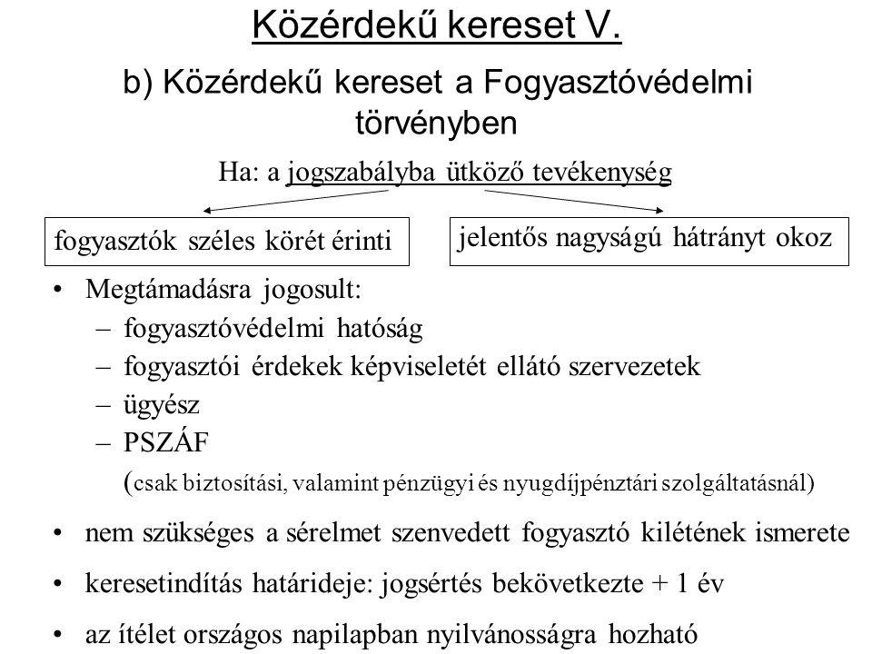 Közérdekű kereset V. b) Közérdekű kereset a Fogyasztóvédelmi törvényben •Megtámadásra jogosult: –fogyasztóvédelmi hatóság –fogyasztói érdekek képvisel