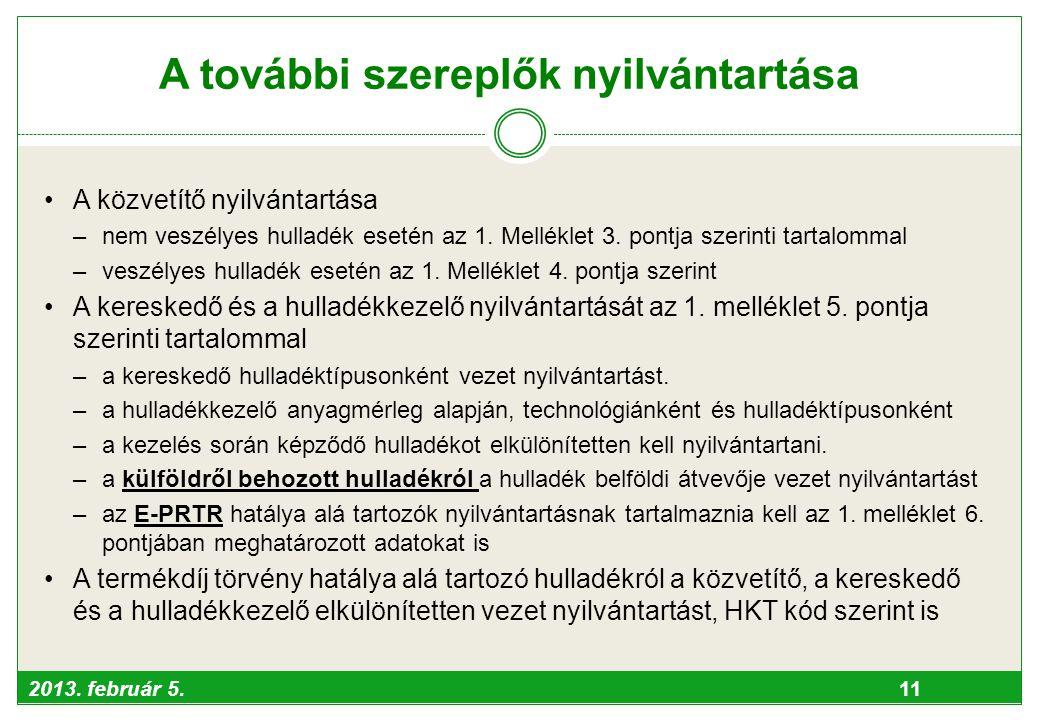 2013. február 5. 11 A további szereplők nyilvántartása •A közvetítő nyilvántartása –nem veszélyes hulladék esetén az 1. Melléklet 3. pontja szerinti t