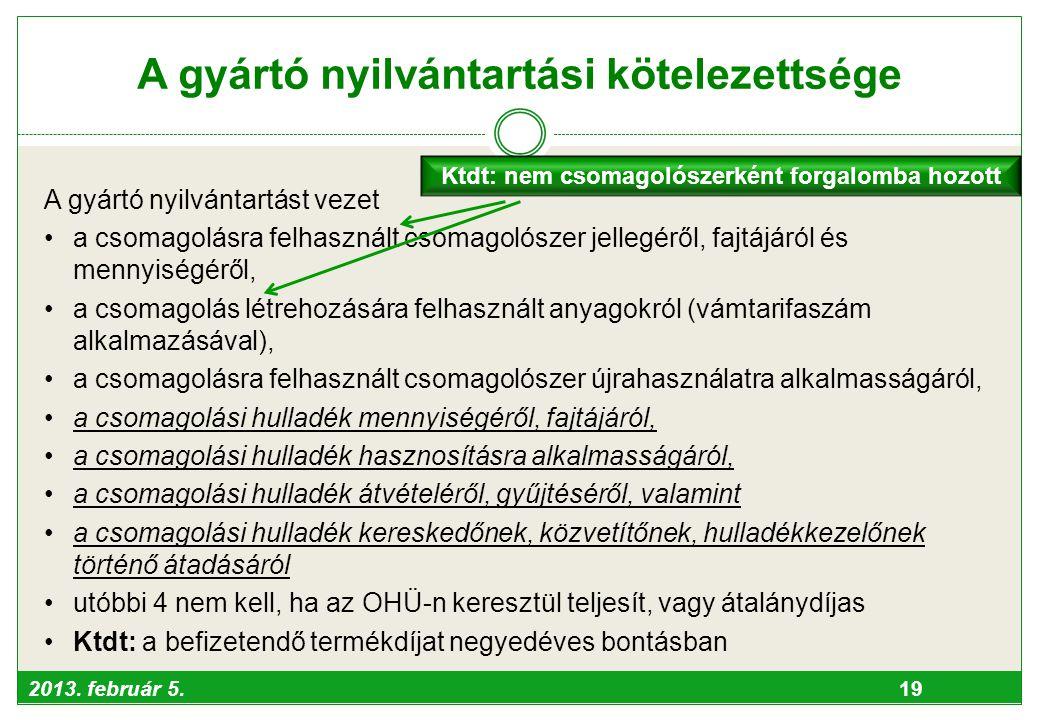 2013. február 5. 19 A gyártó nyilvántartási kötelezettsége A gyártó nyilvántartást vezet •a csomagolásra felhasznált csomagolószer jellegéről, fajtájá