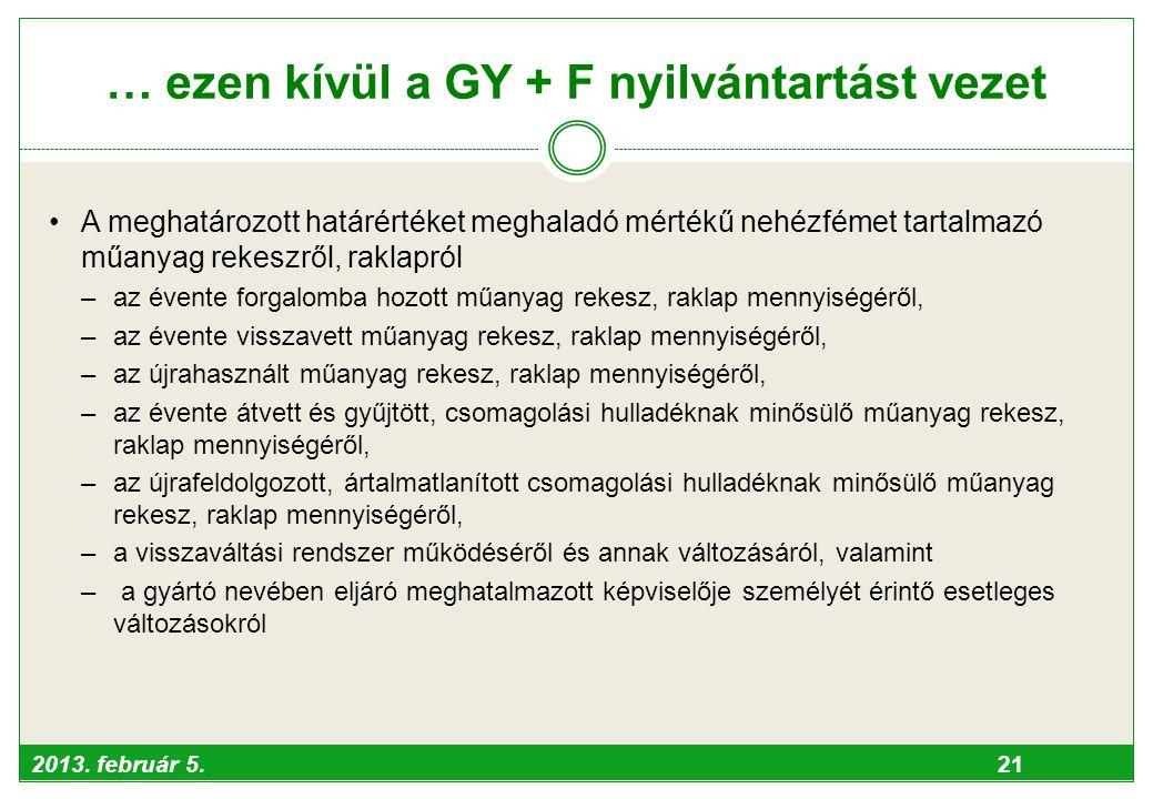 2013. február 5. 21 … ezen kívül a GY + F nyilvántartást vezet •A meghatározott határértéket meghaladó mértékű nehézfémet tartalmazó műanyag rekeszről
