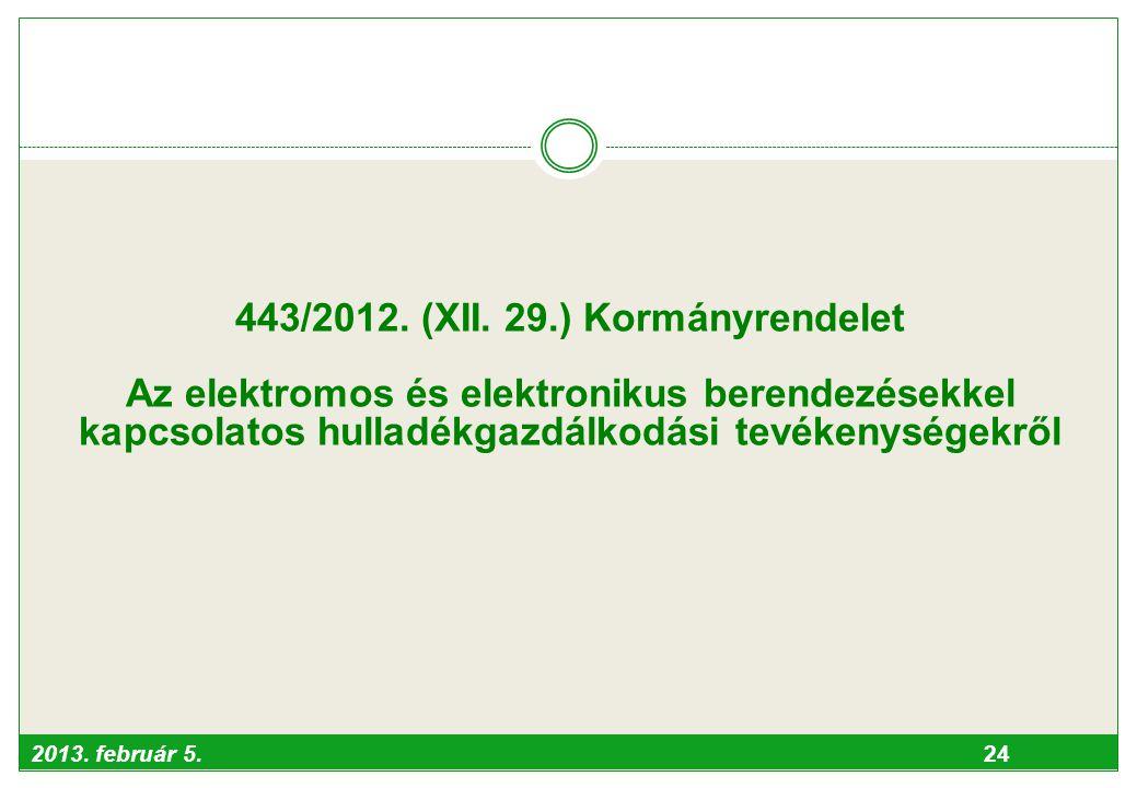 2013. február 5. 24 443/2012. (XII. 29.) Kormányrendelet Az elektromos és elektronikus berendezésekkel kapcsolatos hulladékgazdálkodási tevékenységekr