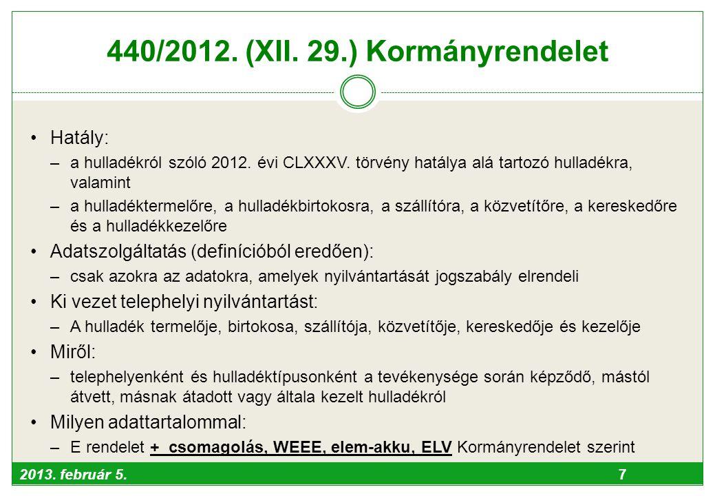 2013. február 5. 7 440/2012. (XII. 29.) Kormányrendelet •Hatály: –a hulladékról szóló 2012. évi CLXXXV. törvény hatálya alá tartozó hulladékra, valami