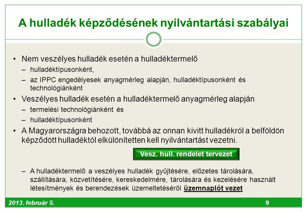 2013. február 5. 9 A hulladék képződésének nyilvántartási szabályai •Nem veszélyes hulladék esetén a hulladéktermelő –hulladéktípusonként, –az IPPC en