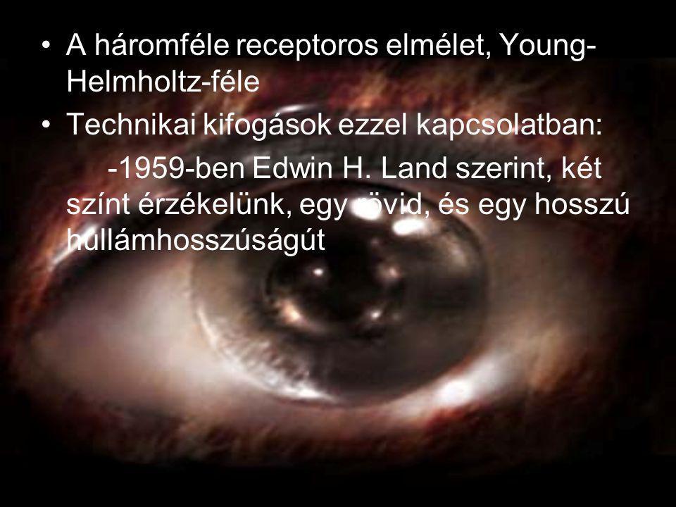 •A háromféle receptoros elmélet, Young- Helmholtz-féle •Technikai kifogások ezzel kapcsolatban: -1959-ben Edwin H. Land szerint, két színt érzékelünk,