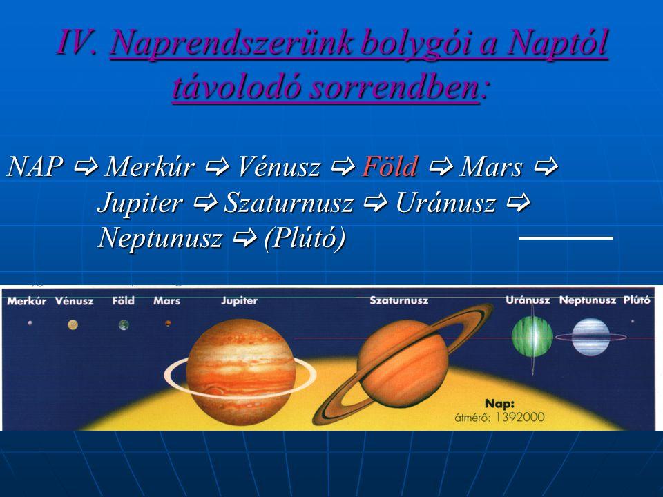IV. Naprendszerünk bolygói a Naptól távolodó sorrendben: NAP  Merkúr  Vénusz  Föld  Mars  Jupiter  Szaturnusz  Uránusz  Neptunusz  (Plútó)
